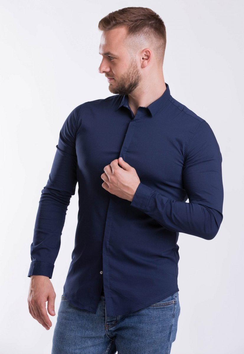 Мужская рубашка Trend Collection 3414-7 Темно-синий