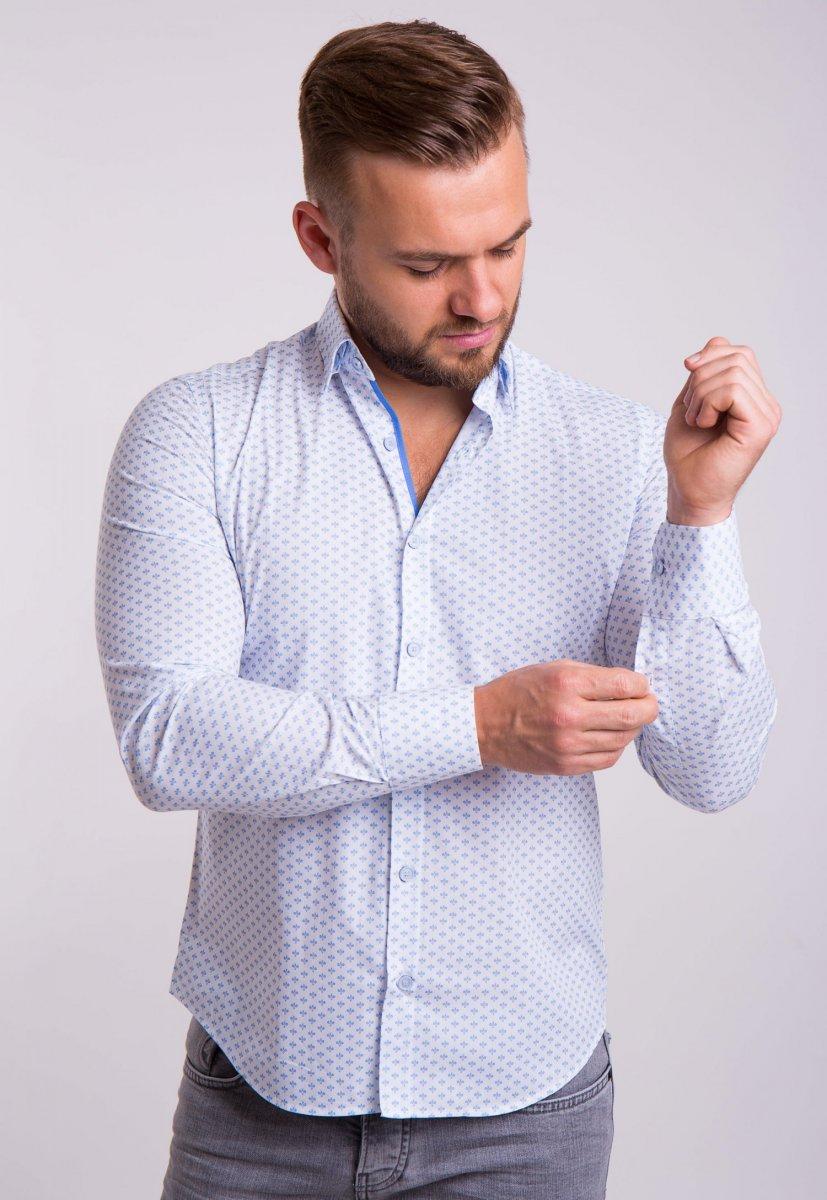 Рубашка TREND Белый + небесный принт 02-1053