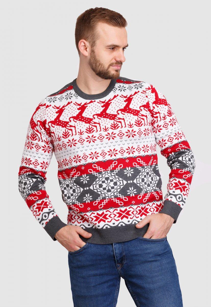Свитер новогодний Trend Collection 90013 Белый + красные олени