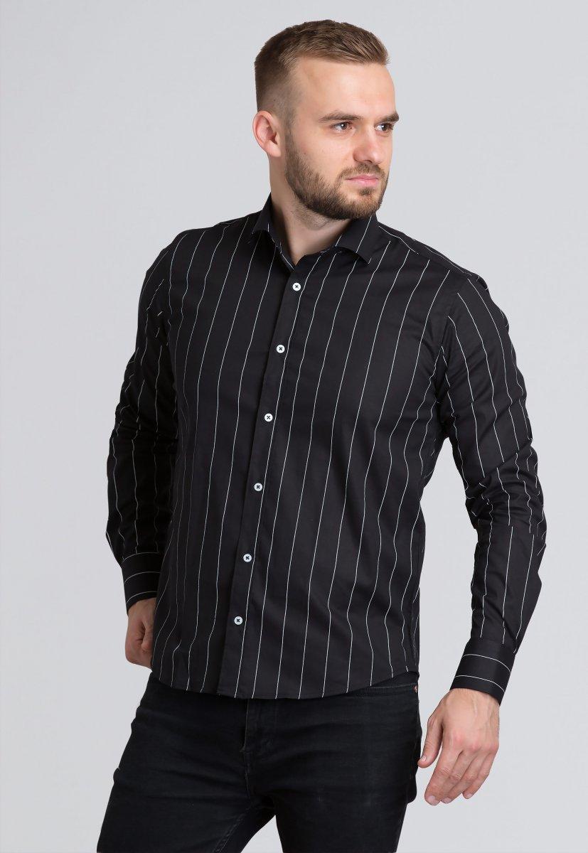 Рубашка Trend Collection U02-1090-20 Черный+белая полоска