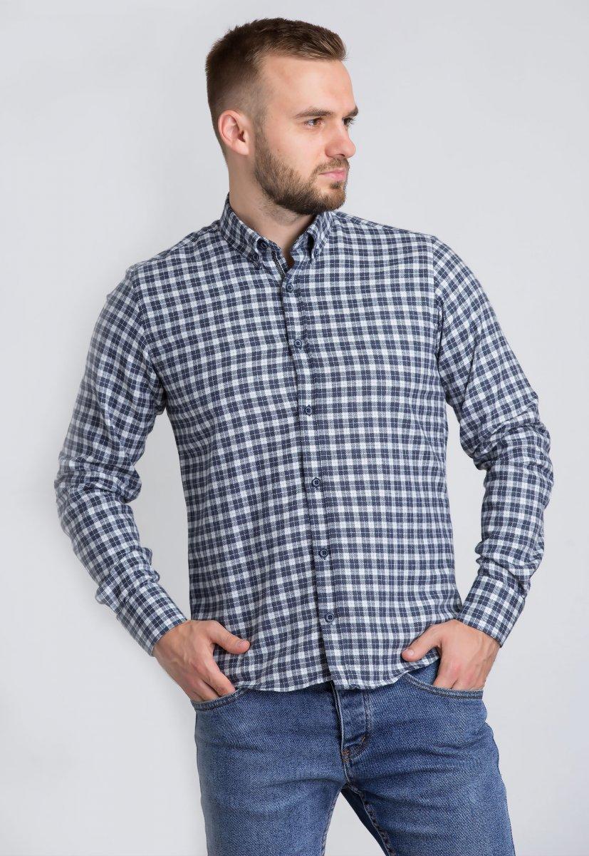 Рубашка Trend Collection U02-1001-20 Синий+белая клетка