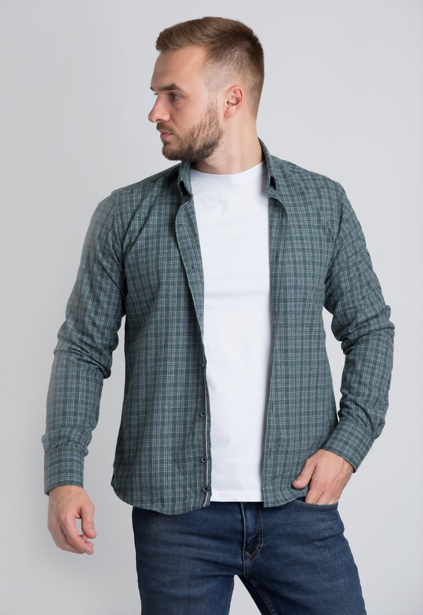 Рубашка Trend Collection U02-1001-20 Зеленый+белый+синий