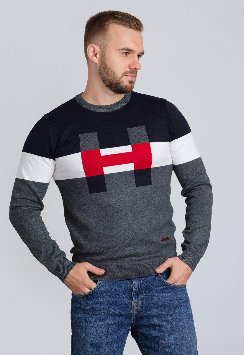 Свитер Trend Collection 7032 Серый+синий+белый