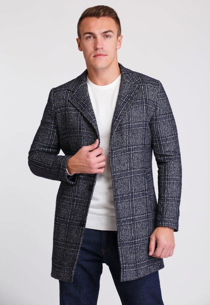 Пальто Trend Collection 553 Темно-синий+клетка