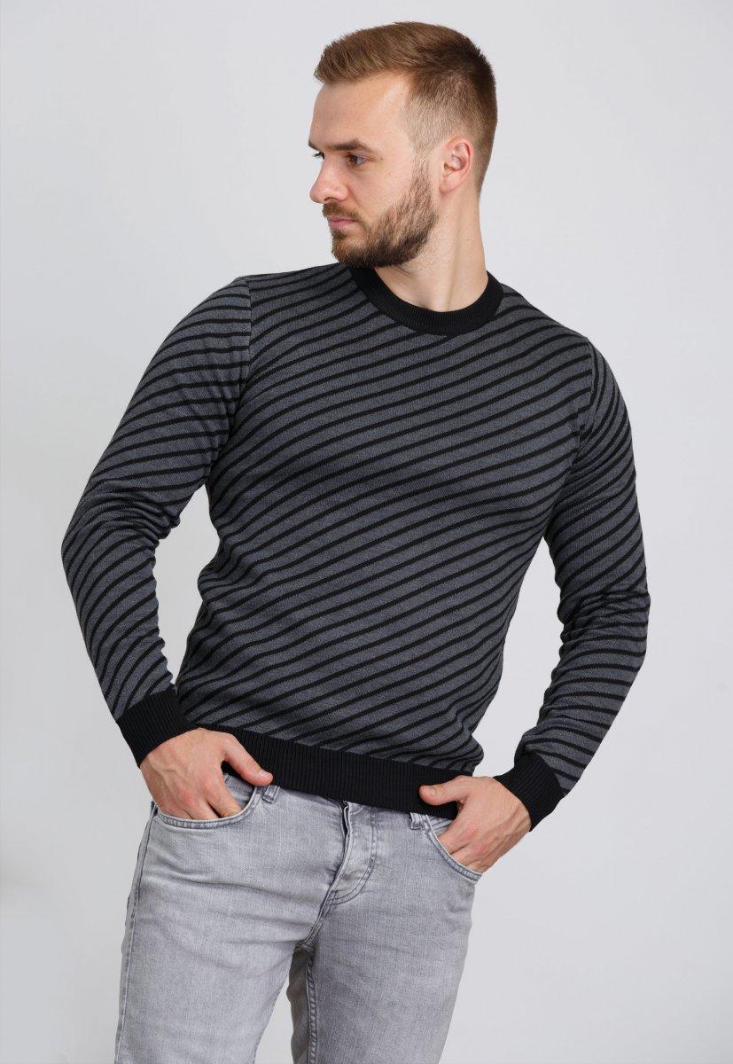 Свитер Trend Collection 19003 Темно-серый+черная полоска