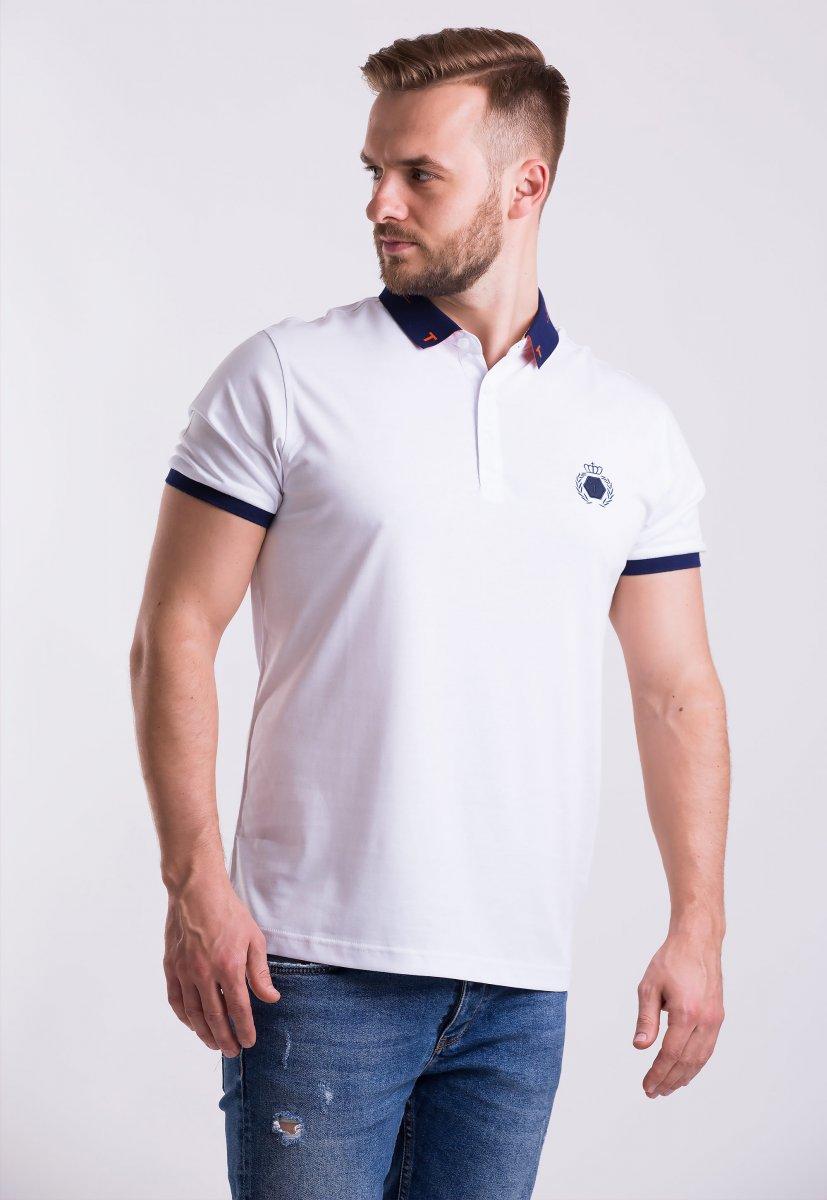 Футболка Trend Collection 1182 Белый + синий воротник