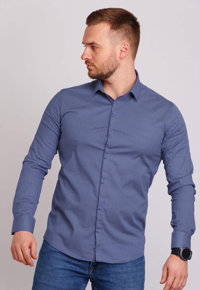 Рубашка мужская Trend Collection 0805 Синий+точка