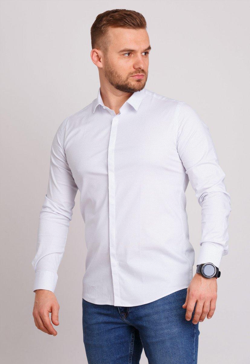 Рубашка мужская Trend Collection 0805 Белый+точка