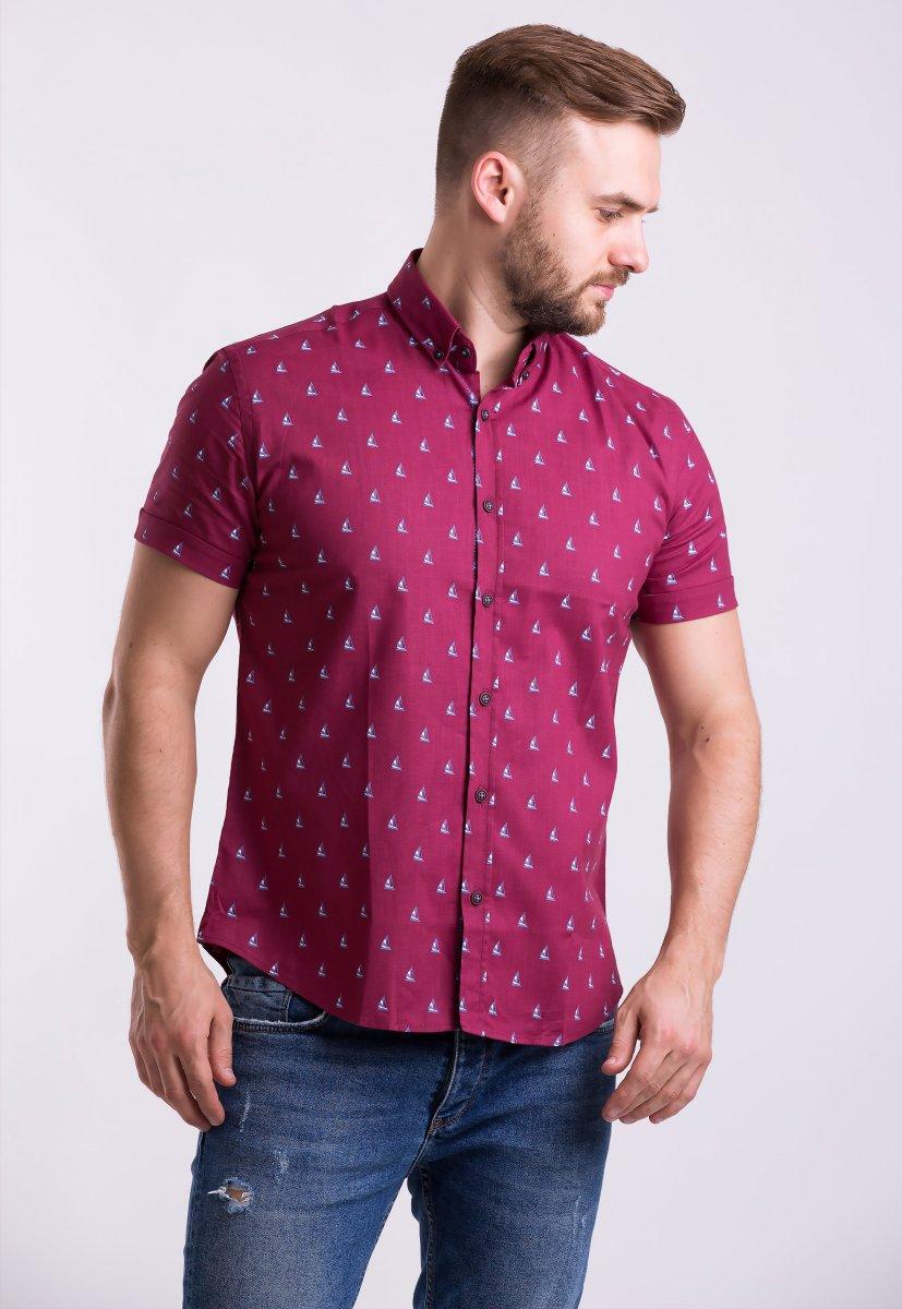 Рубашка Trend Collection TG0007 Бордо + кораблики