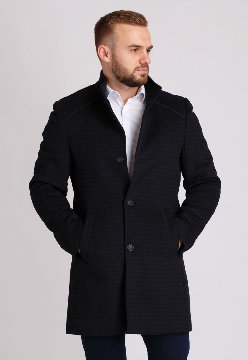Пальто Trend Collection 515 Черный+синяя клетка
