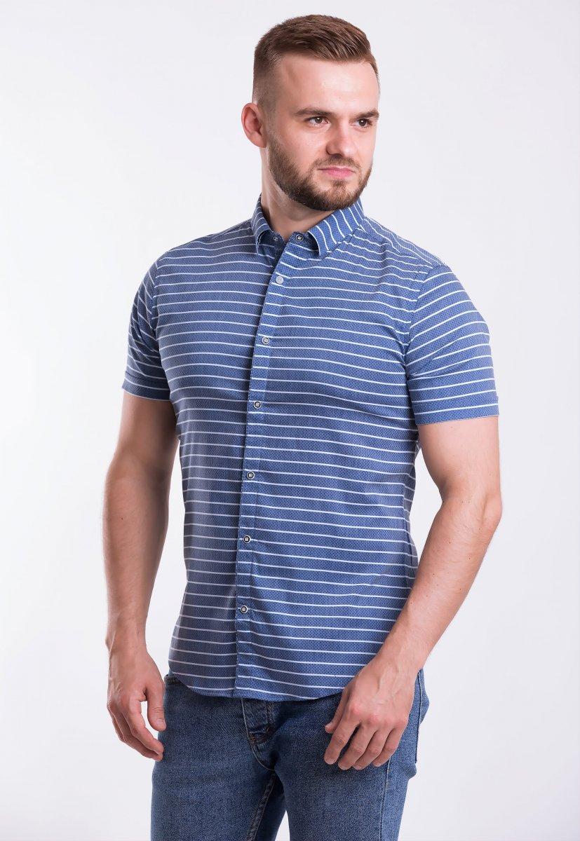Рубашка Trend-Collection 18368 Синий + полоска