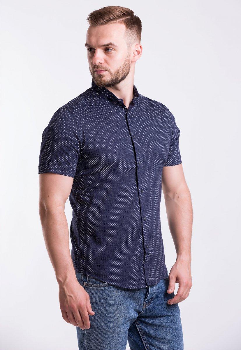Рубашка Trend-Collection 18402 Темно-синий + горох