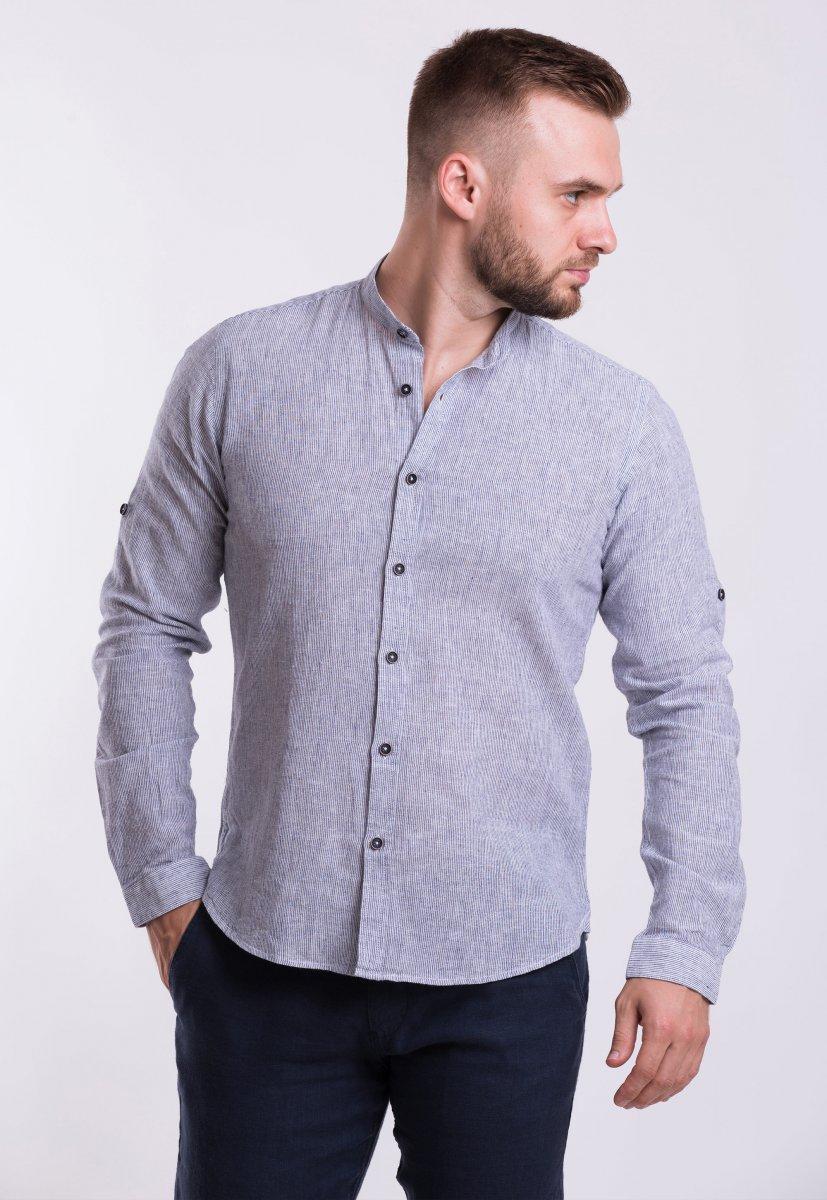 Рубашка Trend Collection U02-1046 Серый + полоска