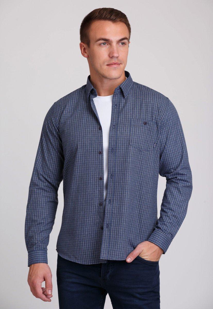 Мужская рубашка Trend Collection 7009 Синий+бежевая клетка №2
