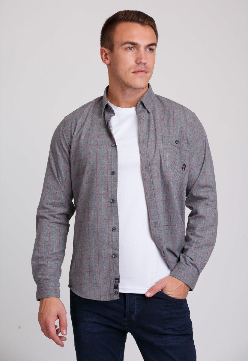 Рубашка мужская Trend Collection 7009 Серый+красная клетка №1