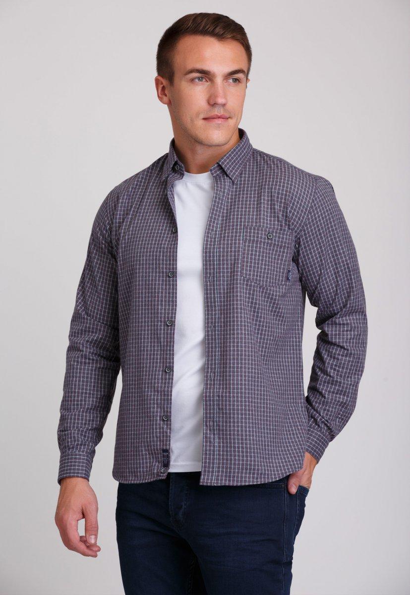 Рубашка мужская Trend Collection 7009 Серый+белая+красная клетка №10