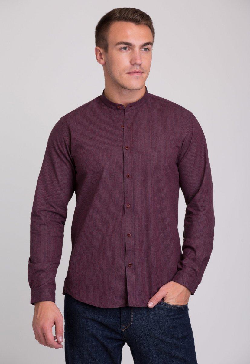 Рубашка мужская Trend Collection 7008 Бордовый+синяя полоска №4