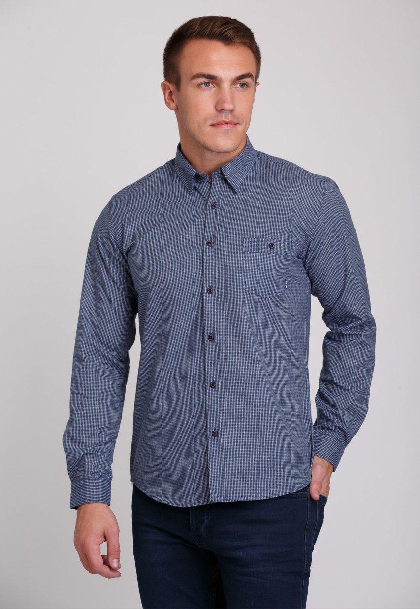 Мужская рубашка Trend Collection 7009 Синий+белая клетка №5