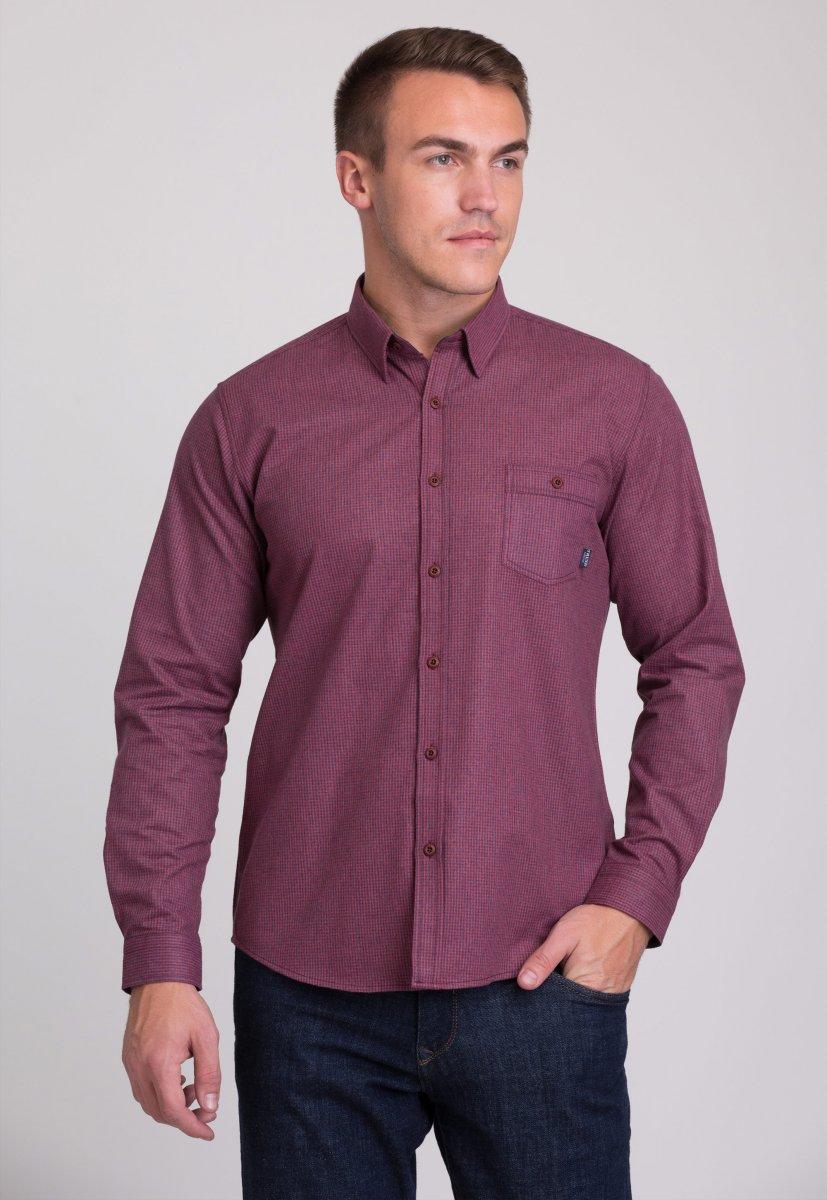 Мужская рубашка Trend Collection 7009 Бордовый+синяя клетка №3