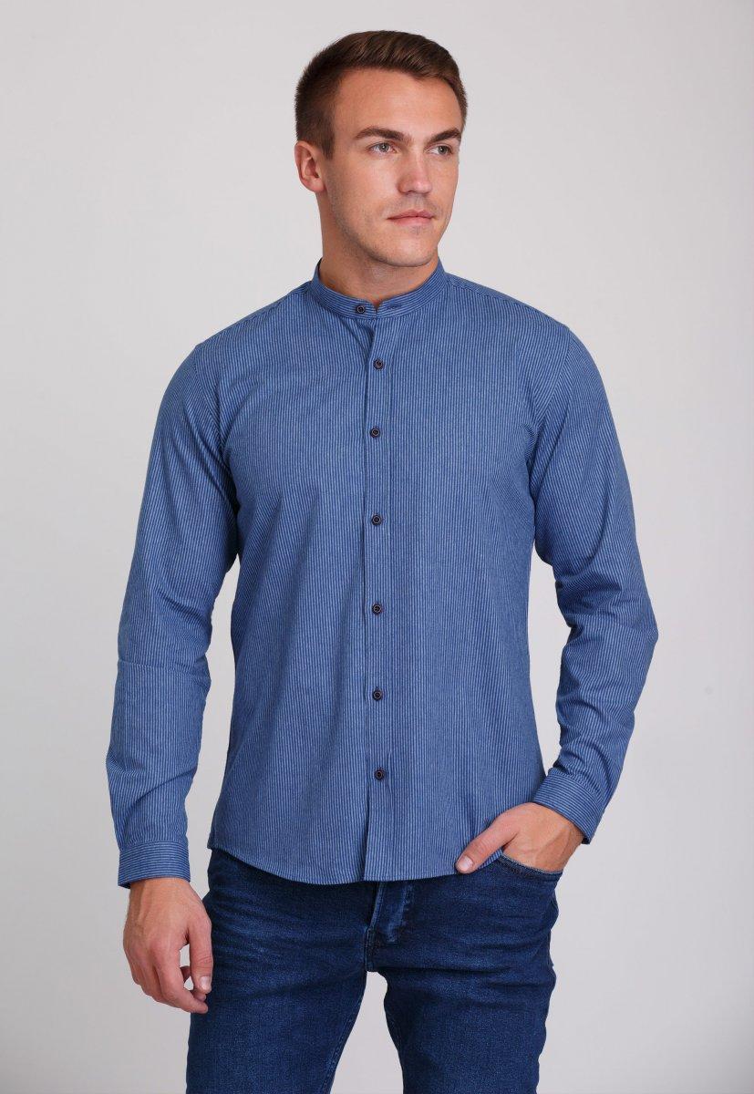 Мужская рубашка Trend Collection 7008 Синий+белая полоска №11