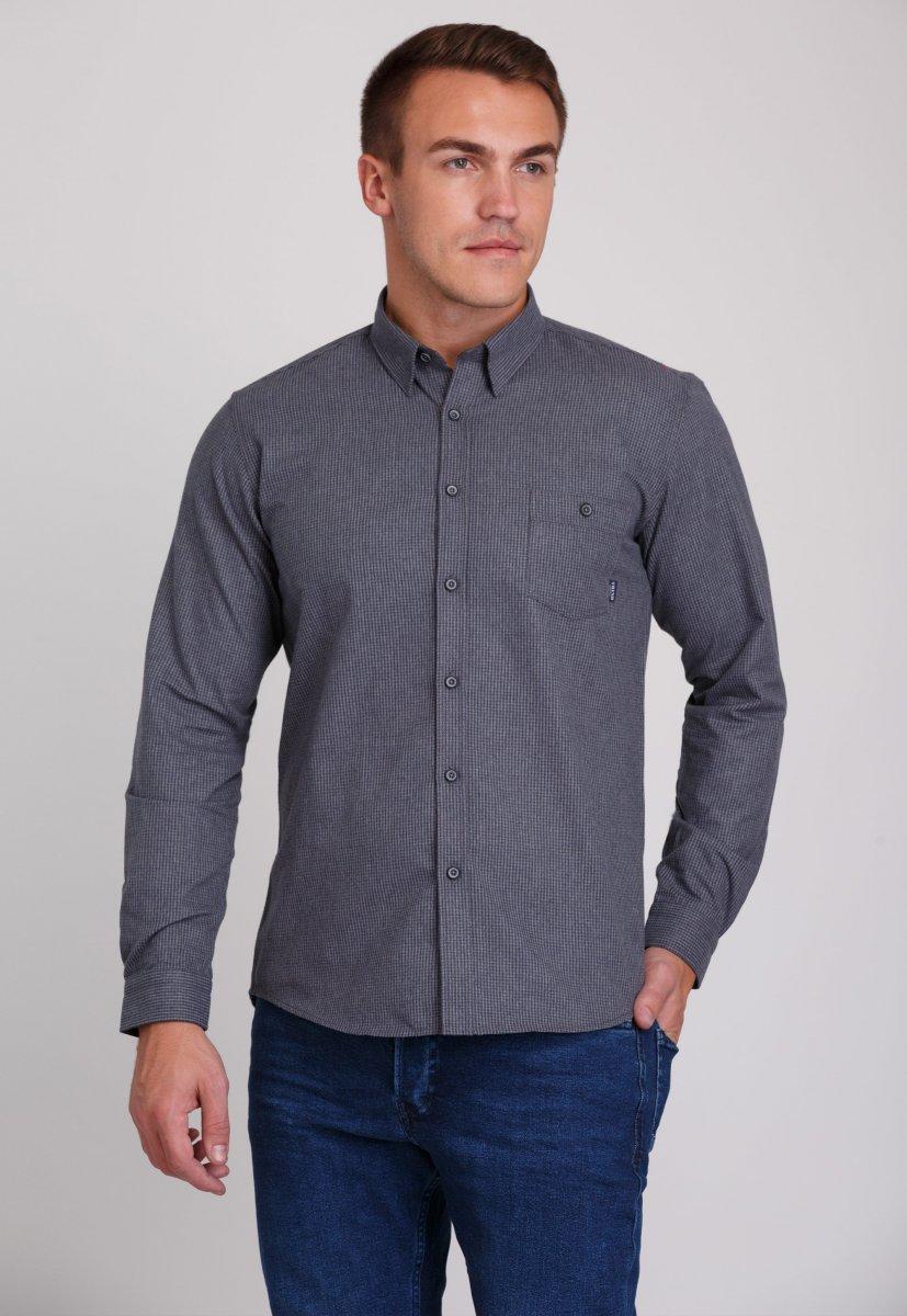 Рубашка мужская Trend Collection 7009 Серый+клетка №8