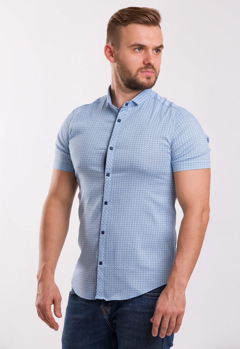 Рубашка TREND Небесный + квадрат 18235