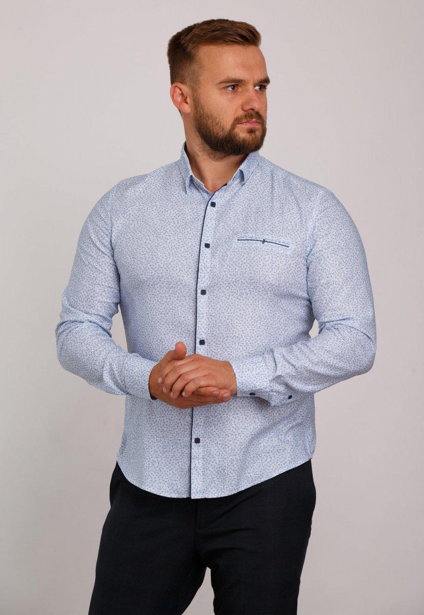 Мужская рубашка Trend Collection 10322 Небесный+узор V04