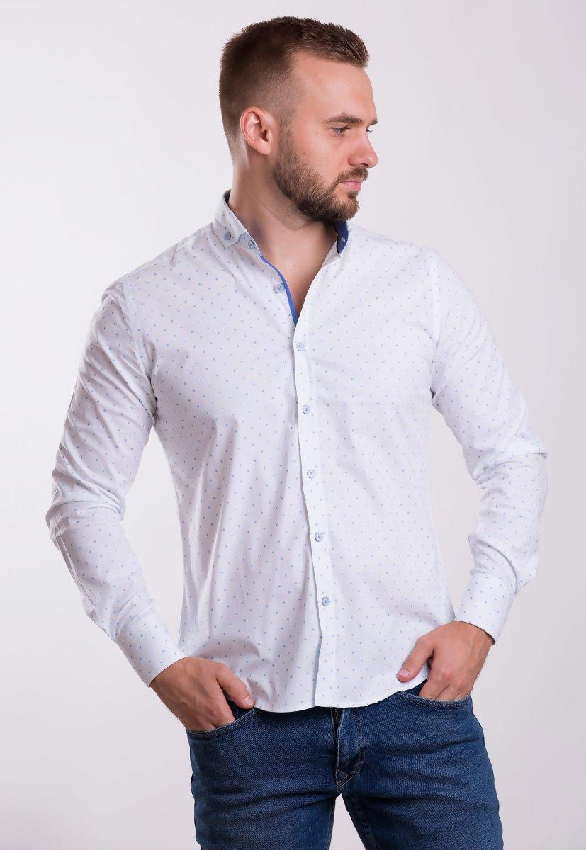 Рубашка TREND COLLECTION 0013 Белый+небесный треугольник