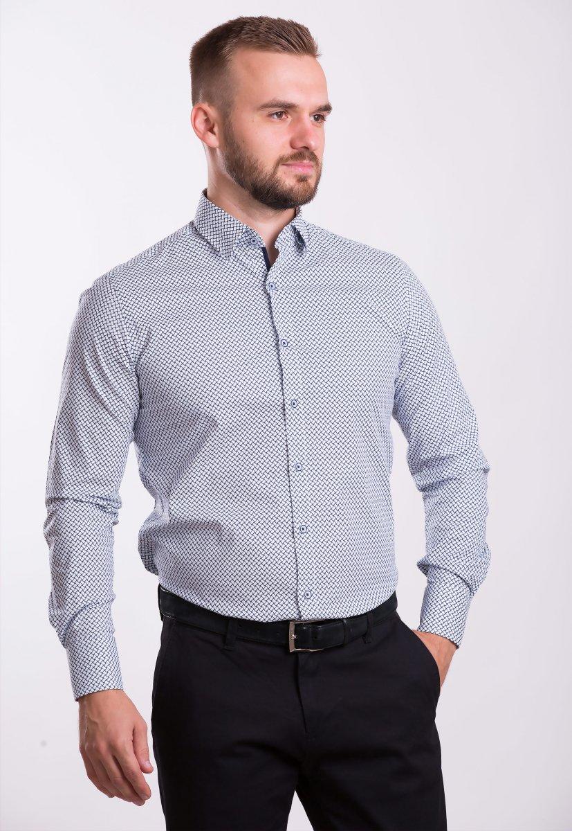 Рубашка TREND COLLECTION 0014 белый+синяя сетка