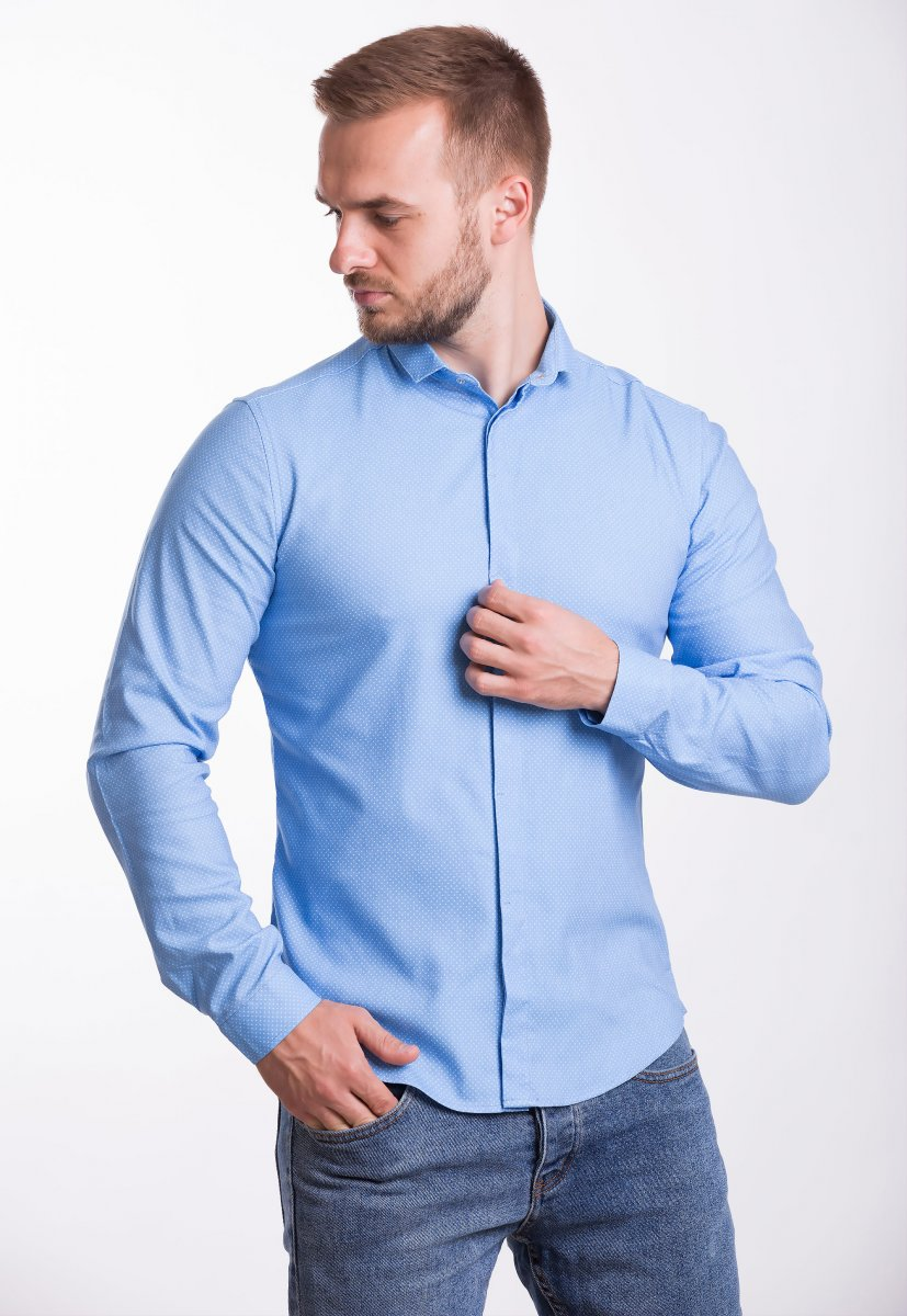 Рубашка Trend Collection 19132 Голубой+белая точка