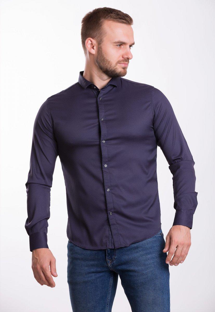 Рубашка Trend Collection 19164 Баклажанный+точка