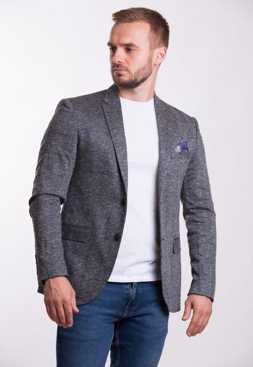Пиджак Trend Collection TJK-008 Серый+синяя клетка