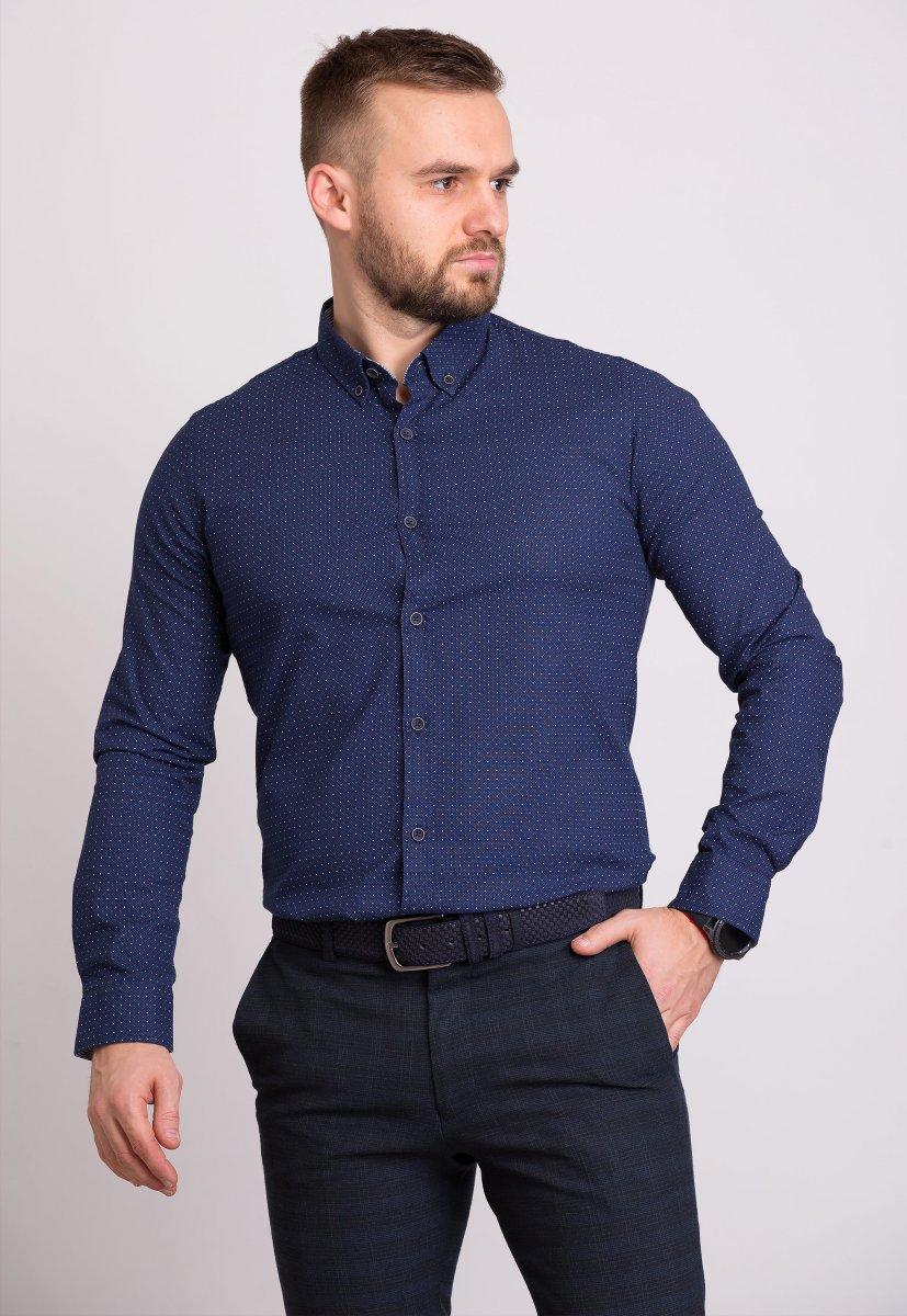 Мужская рубашка Trend Collection 32281 Синий + точка