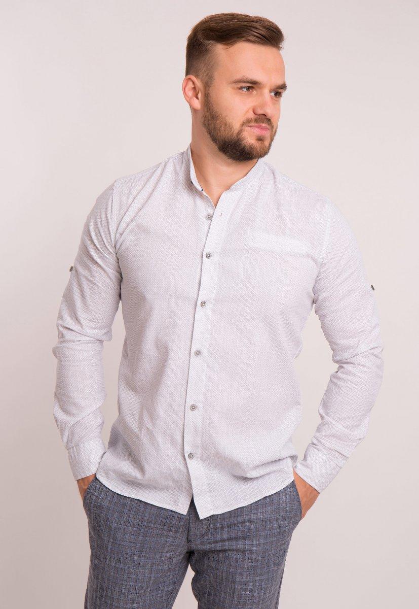 Рубашка Trend Collection 1607 Белый + серый принт