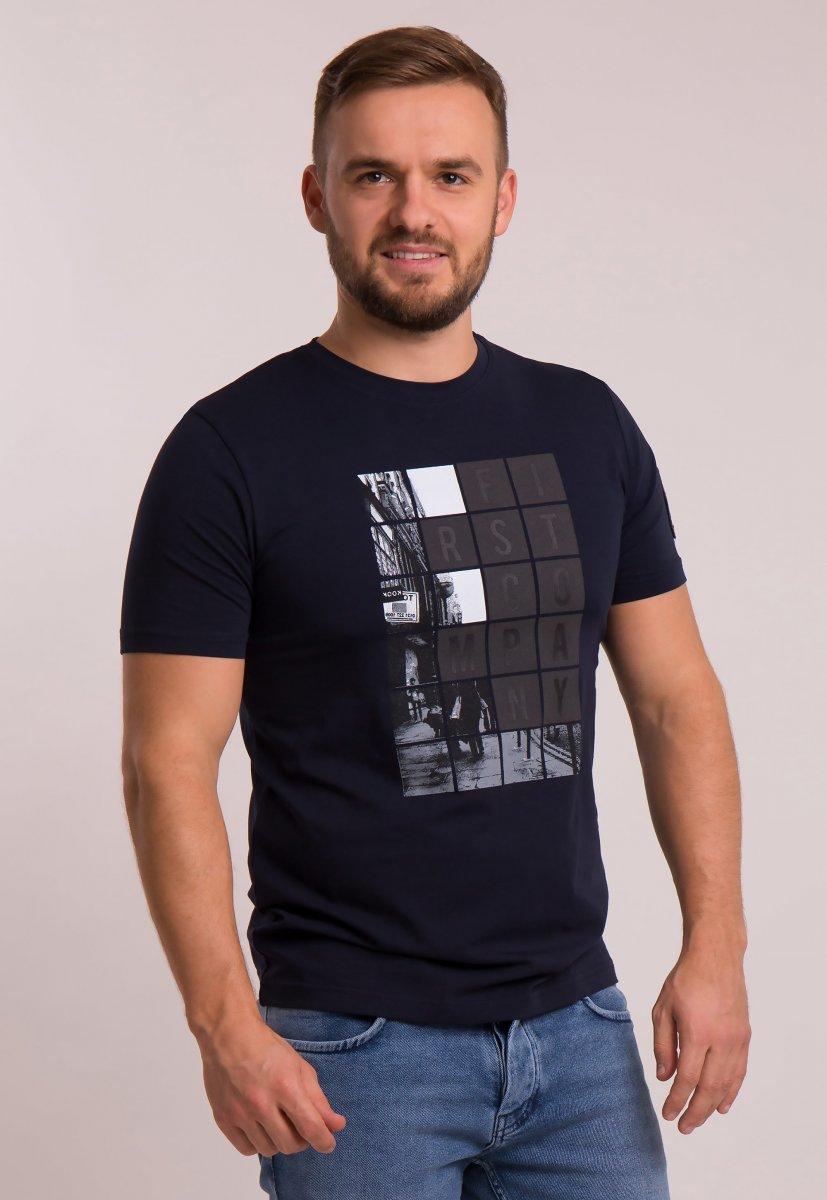Футболка OFF Синий + квадраты 4076