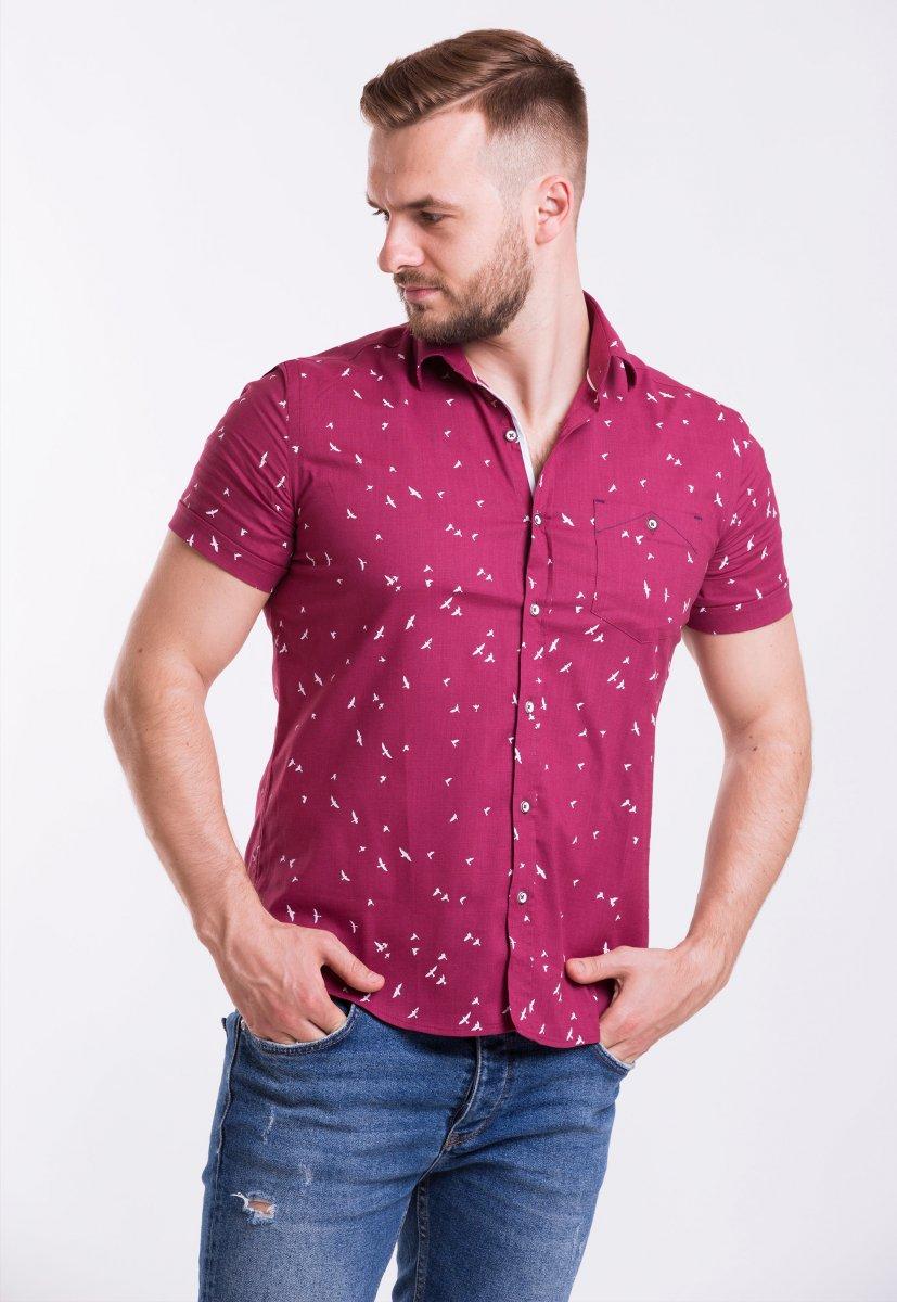 Рубашка Trend Collection TG0006 Бордо + птицы