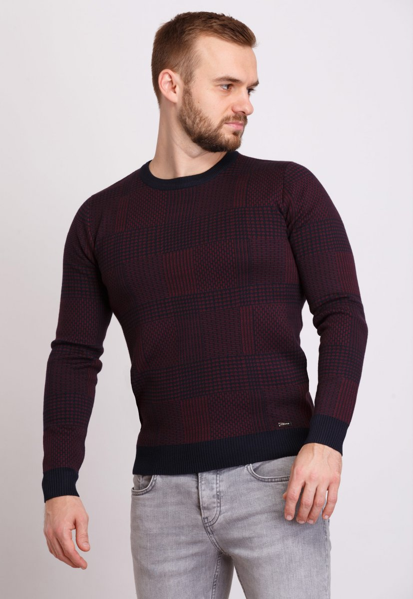 Свитер Trend Collection 1606 Темно-синий+бордовый