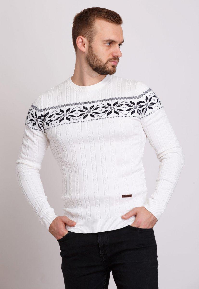 Свитер новогодний Trend Collection 6964 Белый+орнамент