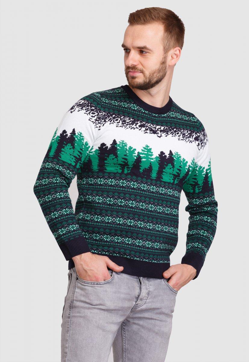Свитер новогодний Trend Collection 050 Белый+зеленые елки