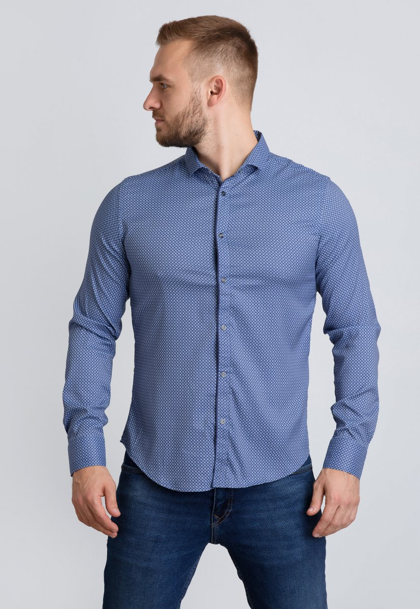 Рубашка Trend Collection 19165 Синий+белая сота