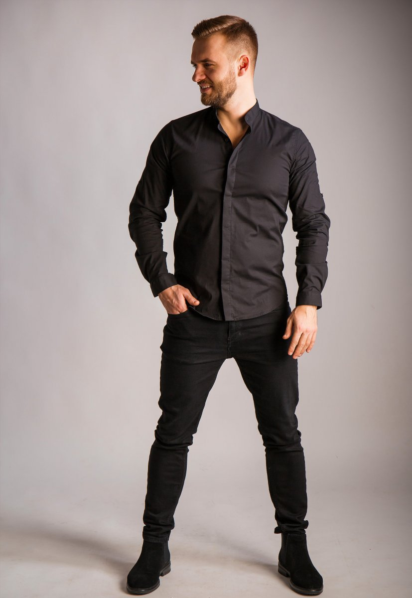Черная рубашка Trend 02-1096