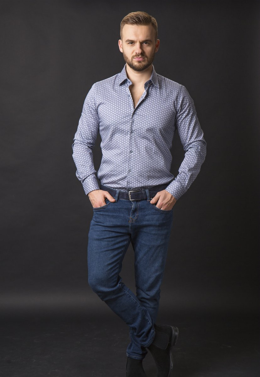 Синяя рубашка Trend 820-1128