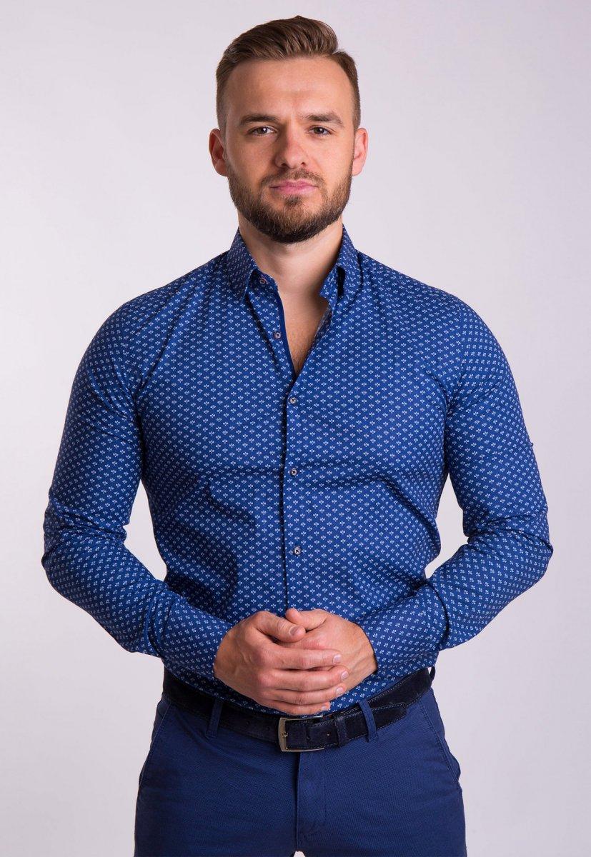 Рубашка TREND Синий + белый принт 02-1053