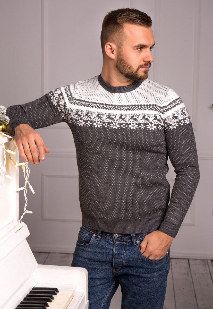 Свитер серый с оленями Trend J08