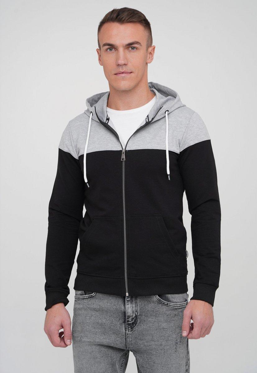 Кофта на замке Trend Collection 87003 Серый+черный (SIYAH)