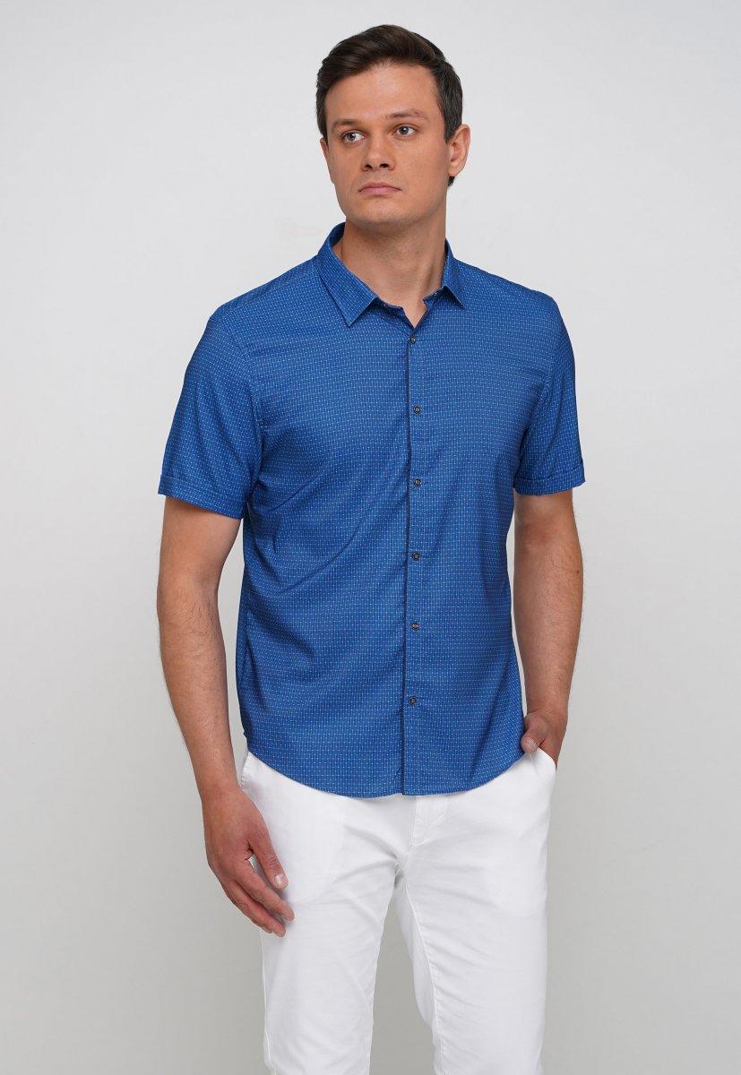 Рубашка Trend Collection 19897 Синий+небесный квадрат