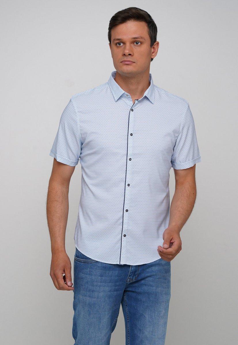 Рубашка Trend Collection 19897 Белый+синий квадрат