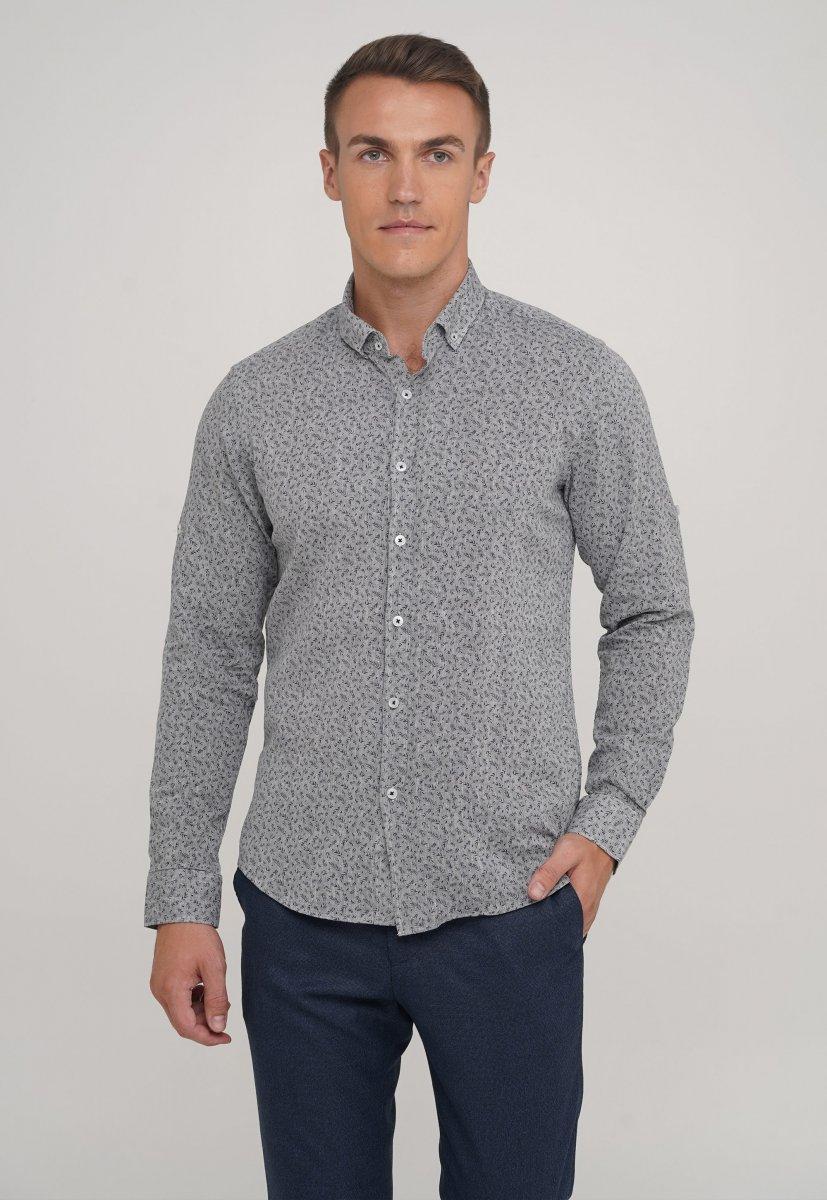 Рубашка,лен Trend Collection 20068-13 Серый+листья