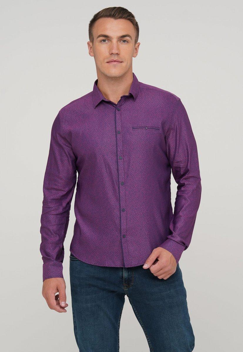 Мужская рубашка Trend Collection 10322 Сиреневый+узор V02