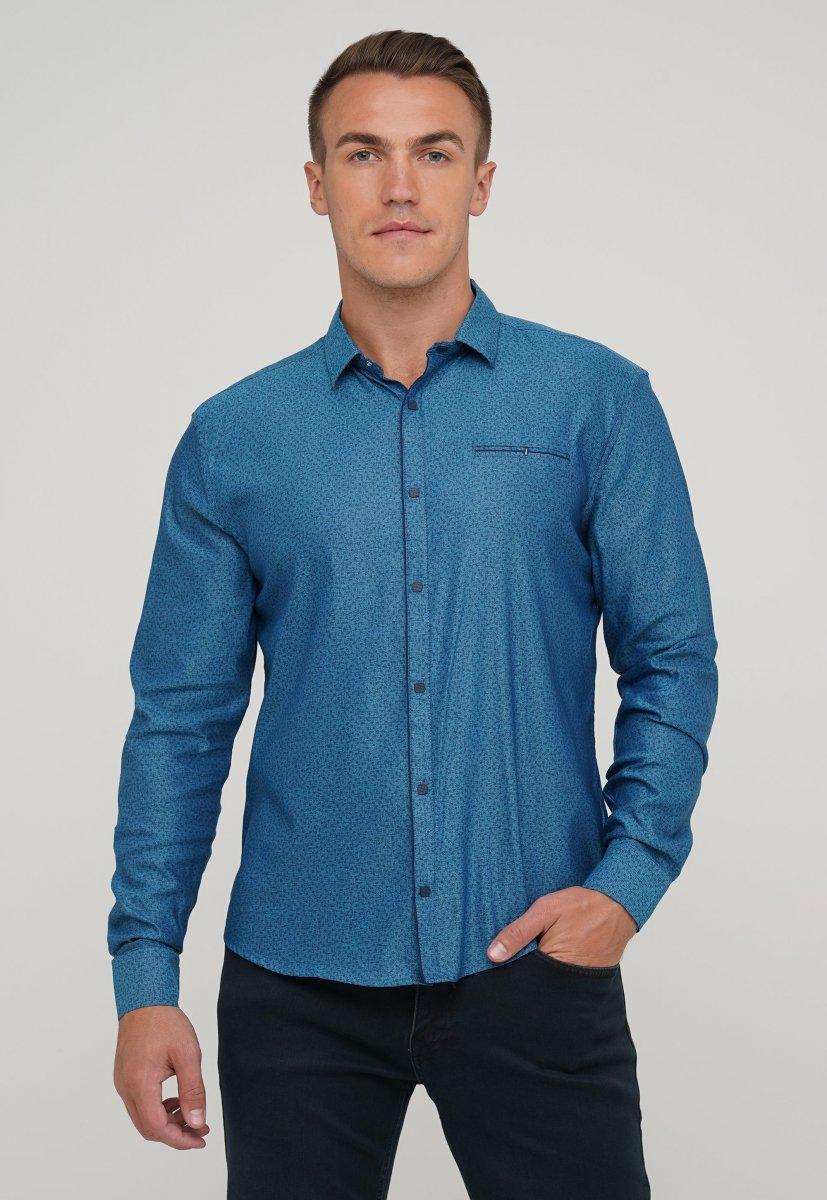 Мужская рубашка Trend Collection 10322 Изумрудный+узор V03